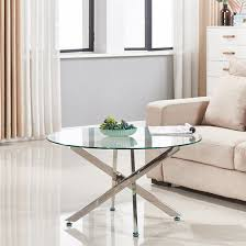 daytona round clear glass coffee table