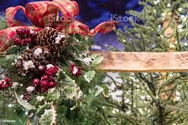 Christmas Decorations On A Wooden Fence Stock Photo Download Image Now Istock