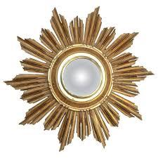 sunburst giltwood convex wall mirror