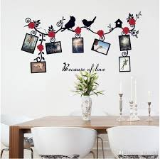 Sk6025 Flying Bird Red Flowers Wall Decals Photo Frame Vine Branches Wall Stickers Because Of Love Quote Wall Art Home Decor Vinyl Stickers For Walls Vinyl Stickers Wall From Fst1688 7 73 Dhgate Com