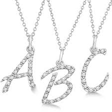 letter initial necklace 14k white gold