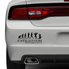Evolution Of Bodybuilder Car Bumper Sticker Gym Weights Lift Funny Vinyl Window Ebay