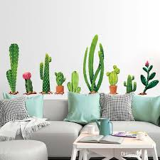 Many Types Of Cactus Green Plants Wall Stickers Living Room Bedroom Background Home Decoration Mural Decal Wall Decor Wallpaper Custom Vinyl Wall Decals Custom Wall Decal From Ok767 7 3 Dhgate Com