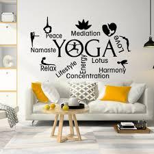 Large Yoga Namaste Lotus Flower Wall Sticker Living Room Yoga Logo Hindu Namaste Quote Wall Decal Bedroom Vinyl Home Decor Leather Bag