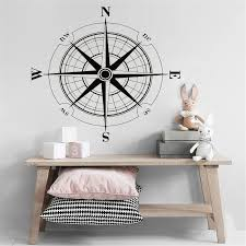 Vinyl Sticker Wind Rose Compass Wall Decal Removable Travel Geography Wall Poster Home Living Room Decoration Wall Mural Wall Stickers Aliexpress
