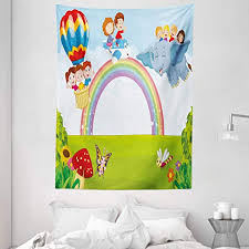 Amazon Com Ambesonne Rainbow Tapestry Cartoon Kids Flying On Baloon Plane And Elephant With Green Field And A Rainbow Wall Hanging For Bedroom Living Room Dorm 60 X 80 Multicolor Home Kitchen