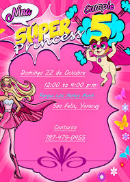 Invitacion Digital Para Cumpleanos De Barbie Super Princesa