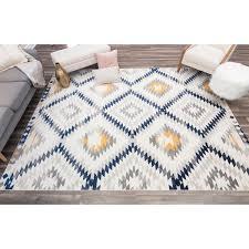 southwestern ivory blue yellow area rug
