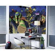Roommates 72 In X 126 In Teenage Mutant Ninja Turtles Cityscape Chair Rail Prepasted Wall Mural Jl1297m The Home Depot
