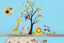 Jungle Wall Stickers Safari Wall Decals Nursery Murals Baby Room Mural Kids Room Mural Animal Decals Nature Decals 83 X 97 Jungle Wall Stickers Elephant Decal Animal Baby Room