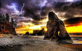 hd wallpaper beach lightning thunder