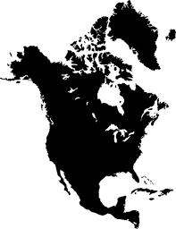 North America Map Silhouette Wall Sticker Tenstickers