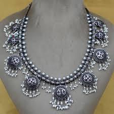 oxidised silver necklace set india
