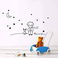 Amazon Com Hatop Stars Moon The Little Prince Boy Wall Sticker Home Decor Wall Decals Kids Bedroom Black Baby