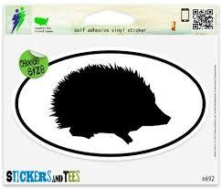 Amazon Com Hedgehog Silhouette Oval Vinyl Car Bumper Window Sticker 5 X 3 Automotive