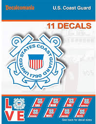 Amazon Com United States Coast Guard 11 Piece Uscg Licensed Stickers For Car Truck Windows Phones Tablets Laptops Large Military Decals From 2 To 5 4 Car Decals Military Kitchen Dining