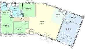 plan maison ossature bois plain pied type 4