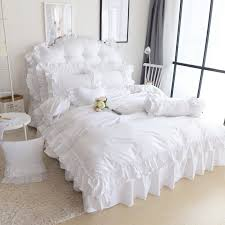 shabby chic white ruffle bedding