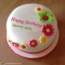 Dearest Anita Name Card Happy Birthday Cake Pictures Birthday Wishes Cake Birthday Cake With Flowers