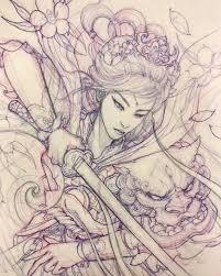 Upcoming Geisha Warrior Sketch Illustration Drawing Irezumi