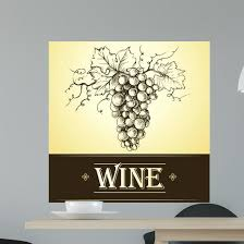 Wine Label With Grapes Wall Decal Wallmonkeys Com