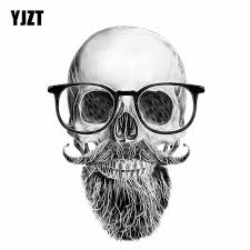 2020 Cheap Stickers Yjzt 11 4cm 15 6cm Funny Car Sticker Skull Mustache Beard Glasses Decal Car Accessories 6 0684 From Lkmwdkawx 1 6 Dhgate Com