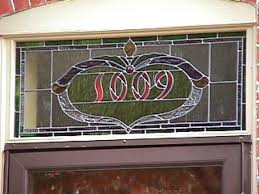 number transom stained and leaded glass
