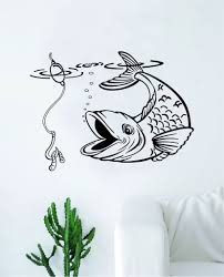 Fish Fishing Decal Sticker Wall Vinyl Art Home Room Decor Living Room Boop Decals