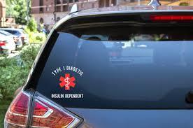 Type 1 Diabetic Medical Alert Car Decal Diabetes Decal Type 1 Diabet 614vinylllc