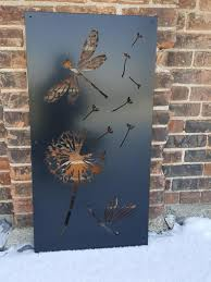 Dragonfly Dandelion Metal Privacy Screen Decorative Panel Outdoor Garden Fence Art In 2020 Fence Art Garden Fence Art Decorative Panels