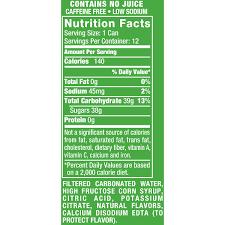 sprite label nutrition facts best