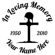 In Loving Memory Fallen Soldier Cross Sticker