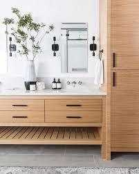 warm teak wood bathroom with minimalist