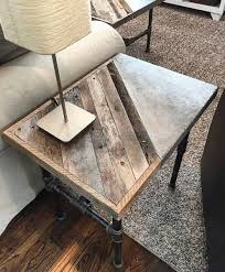concrete coffee table with wood inlay