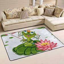 Amazon Com Wihve Frog Princess Lotus Non Slip Area Rugs Living Room Carpet Bedroom Rug For Children Rug Floor Yoga Mat 24 X 36 Inch 2 X 3 Kitchen Dining