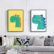 Nordic Dinosaur Canvas Painting Animal Art Poster Nursery Room Home No Frame With Free Shipping Worldwide Weposters Com