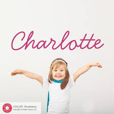 Name Wall Decal Kids School Cursive Script Personalized Boy Or Girl Graphic Spaces