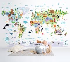 Nursery World Map Decal Removable Wallpaper Kids Room Decor Etsy