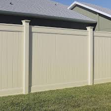 Freedom Ready To Assemble Emblem 6 Ft H X 8 Ft W Sand Vinyl Flat Top Fence Panel Lowes Com Vinyl Fence Panels Vinyl Privacy Fence Vinyl Fence
