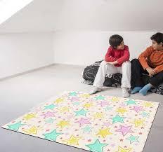 Wonderful Kids Colorful Stars Vinyl Rug Tenstickers