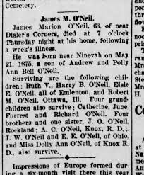 James Marion O'Neil, son of (John) Andrew and Polly Bell. - Newspapers.com