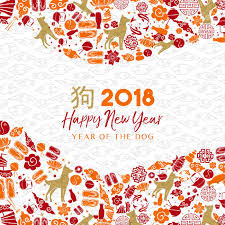 happy chinese new year of the dog greeting card illustration