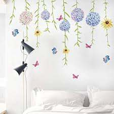 Amazon Com Dktie Flower Wall Decals For Living Room Flowers Decorations For Wall Stickers For Bedroom Living Room Removale Art Decal Home Kitchen