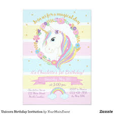 Invitacion Del Cumpleanos Del Unicornio Zazzle Es Invitaciones