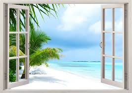 Island Beach Wall Decal 3d Window Tropical Beach Palm Tree Etsy