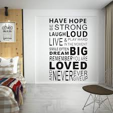 Amazon Com Coleey Inspirational Wall Decals Quotes Have Hope Be Strong Word Wall Sticker Quotes Lauhg Loud Motivational Wall Decal Family Inspirational Wall Art Sticker Vinyl Wall Mural Paint Decor Have Hope Home Kitchen