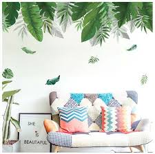 60 90cm Tropical Jungle Green Leaves Wall Sticker Home Decor Living Room Restaurant Seaside Plant Swallow Art Wall Mural Decal Wall Stickers Aliexpress