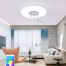 Led Music Ceiling Light 24w Color Changing Kids Bedroom Bluetooth Lamp Ceiling Fixtures Flush Mount Speaker Intermediate Color Amazon Com