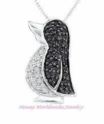 black diamond pretty penguin necklace