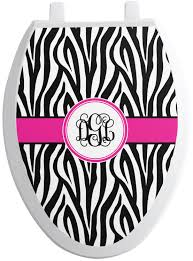 Zebra Print Toilet Seat Decal Personalized Youcustomizeit